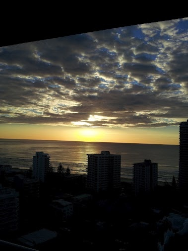 Gold Coast - Sunrise at Surfers Paradise - photo taken July 2011 with my Samsung Galaxy S11. This was taken from the 17th floor of my hotel about 300 metres from the beach.