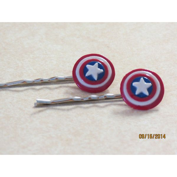 Marvel's The Avengers polymer clay Captain America shield bobby pin -... ($6) ❤ liked on Polyvore
