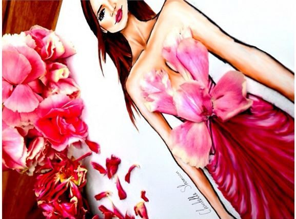 Close up look of  à fleurs collection • 1  #fashion #hautecouture #couture #illustration #design #designer #art #digitalart #pencilart #flowers #dress #longdress #pink #chantelleshamoon