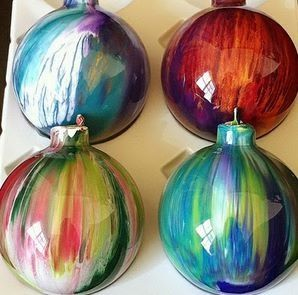 Homemade Christmas ornaments! Get clear ornaments, drop in a few colors acrylic paint, close and shake till all filled!!
