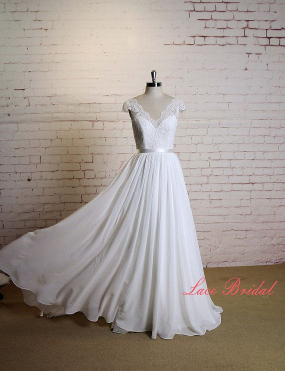 V-Neck Wedding Dress with Cap Sleeves A-line Chiffon Skirt Bridal Gown with V-Back Lace Bodice Wedding Dress with Waistband