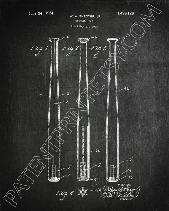Baseball Bat Patent Print Baseball Bat Decor by PatentPrint