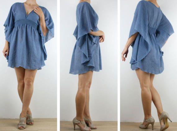 Ladies Kaftan dress short beach dress boho dress tunic in