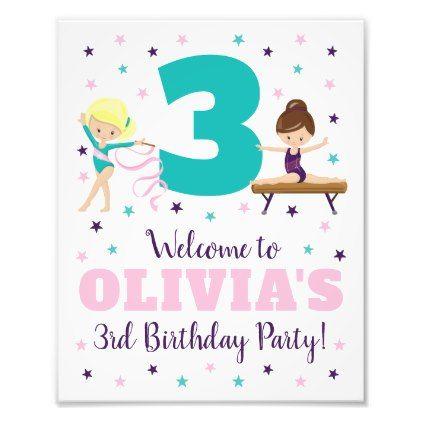 #Gymnastics Birthday Party Sign  8 x 10 Print - #birthday #gifts #giftideas #present #party