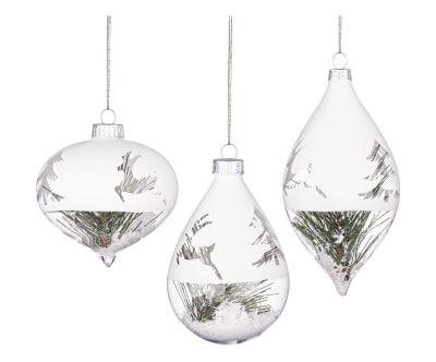 Set de 3 adornos para colgar de cristal Jolly - transparente