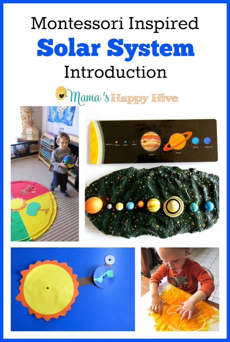This Montessori Inspired Solar System Introduction unit study includes 8 activities for toddlers or preschoolers to enjoy. This is also part of the 12 Months of Montessori series! - www.mamashappyhive.com