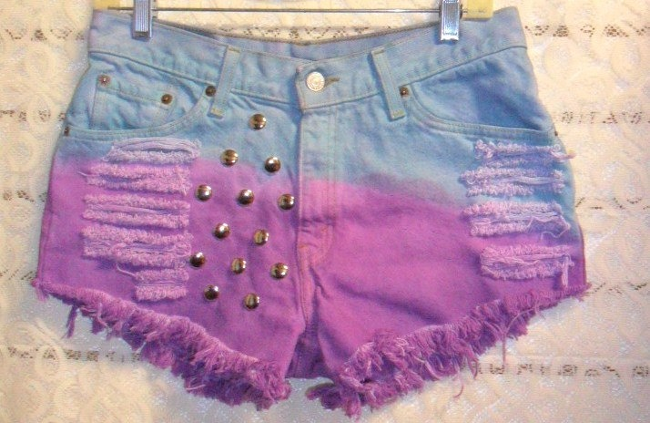 Levis MidLOW Rise Hand Dyed Studded Shorts by GypsysTreasureCove