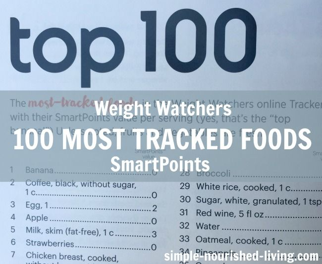 <strong> The Top 100 Most Tracked Foods in the Weight Watchers online Tracker, with their SmartPoints® </strong> <strong> values! </strong>   Happy Friday! Time for another giveaway! Today we are giving away a <em class=short_underline> $100 Amazon Gift Card </em> ! You'll find all the details at the end of the post.  Win this $100 Amazon Gift Card from Simple Nourished Living  But first, I've got a list I think Weight Watchers will find fascinating. Page 60-61...