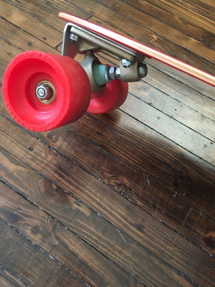 Signed G&S Fibreflex Henry Hester slalom deck, gold Gull Wing HPG Trucks (70s), rare first-generation red Kryptonics wheels (70s). #skateboard #vintage #70s