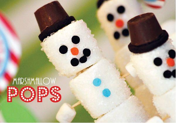 marshmallow pops   ... super simple to make - Snowman Marshmallow Pops full tutorial here