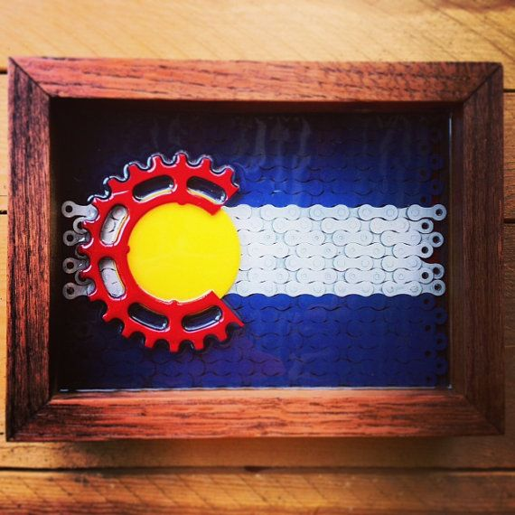 COLORADO  flag made of reclaimed bike chain by ReGEARED on Etsy