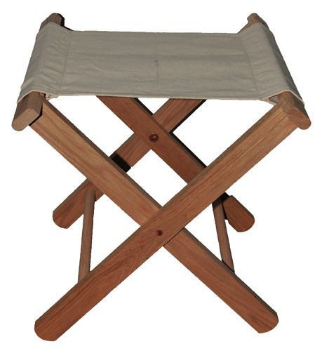 Oak And Canvas Camp Stool Reenactment Furniture