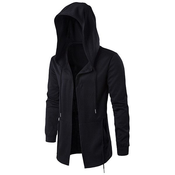 Plus Size Black Fashion Casual Mid Long Cloakman Cloak Hooded Jacket ($27) ❤ liked on Polyvore featuring men's fashion, men's clothing, men's outerwear, men's jackets, black, mens short sleeve jacket, mens zipper jacket, mens fleece lined jacket, mens long jacket and mens hooded jackets