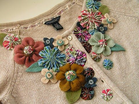 How to make several different fabric and felt flowers (for a remade cardigan).
