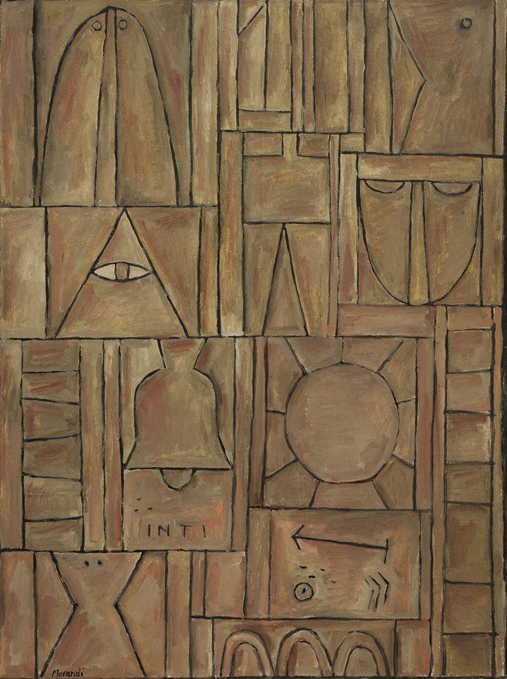 Marta Morandi (1936-2004): Constructivo Ocre. Óleo sobre tela 82 x 60 cm.