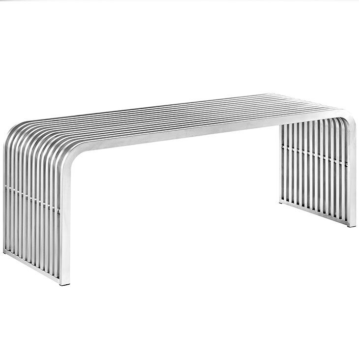 LexMod - Pipe Stainless Steel Bench in Silver