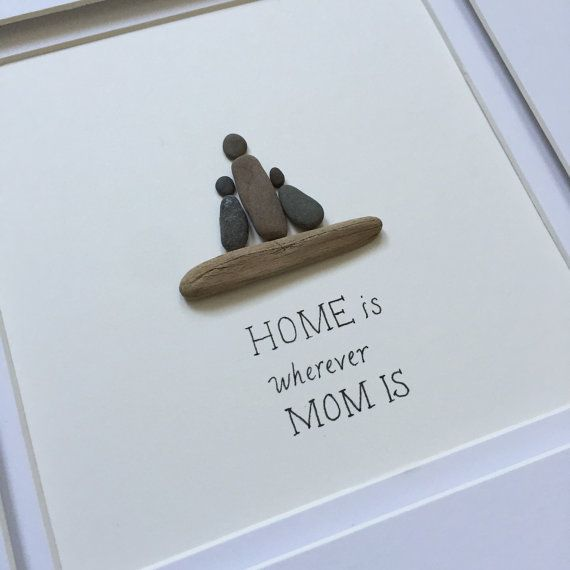 Pebble Art, Family Art, stone art, Pebble Art Picture, Cottage decor, Farmhouse decor, Gift for mom, Gift for wife, Framed wall art