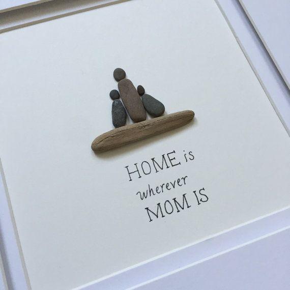 Pebble Art, Family Art, stone art, Pebble Art Picture, Cottage decor, Farmhouse…