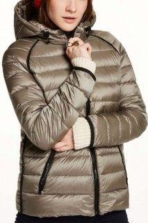 Scotch&Soda khaki dámská bunda Hooded Puffer