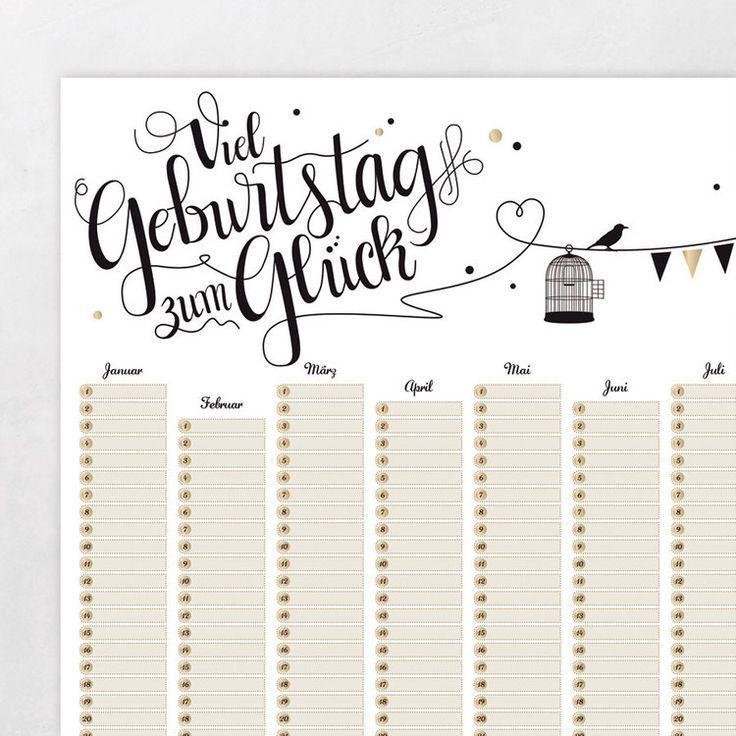 A2 Plakat Geburtstagskalender Poster Kalender Immerwahrender