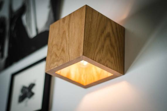 Wall Lamp Q 330 Handmade Sconce Oak Wooden Lamp Wood Lamp Wall Light Minimalist Lamp Wooden Lamp Wood Sconce Cube Con Immagini Lampade Da Parete Lampada In Cemento Parete Di Legno