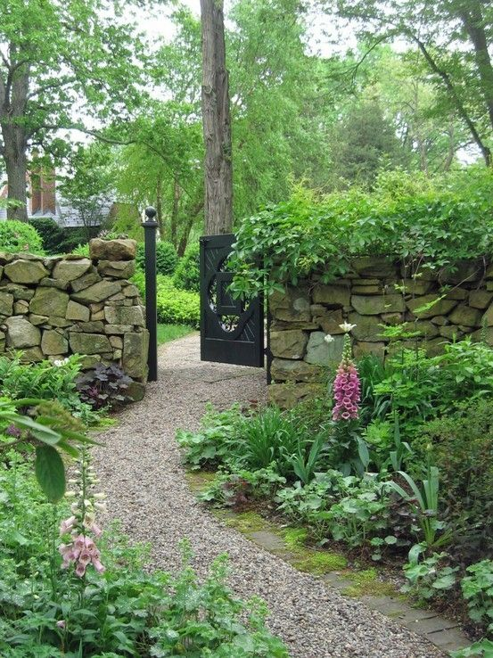 Stone wall but arbor/gate instead of full gate- to garden