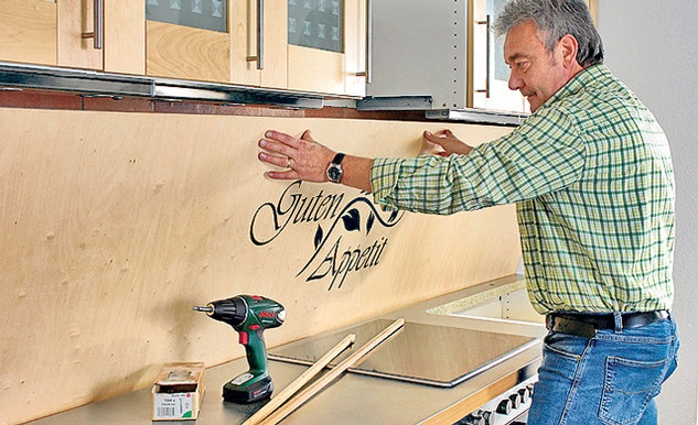 Küchenrückwand aus Holz Spritzschutz, Lackieren und Holz