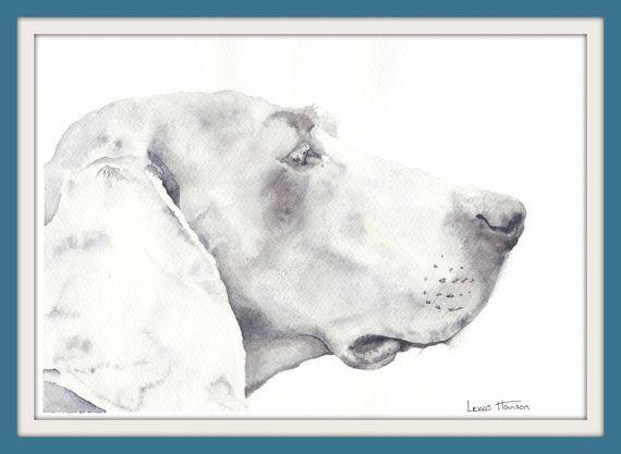 Watercolour Weimaraner Portrait- Pet Portrait- Dog Painting- Nursery Art- German Dog Painting- Hound- Hound Painting- Art by Lewis Hanson