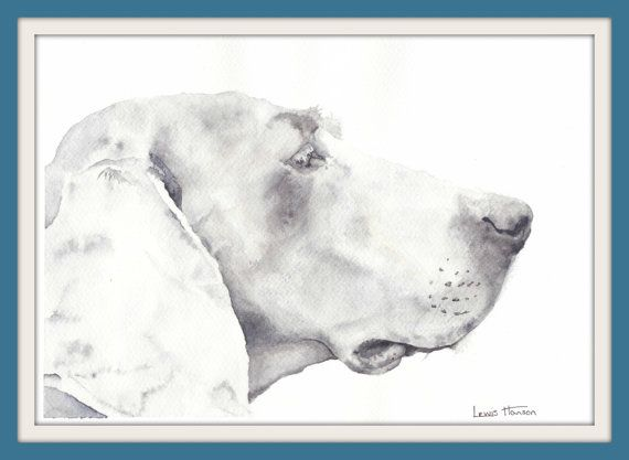 Watercolour Weimaraner Portrait- Pet Portrait- Dog Painting- Nursery Art- German Dog Painting- Hound- Hound Painting- Art by Lewis Hanson