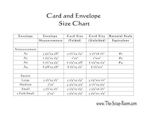 8 best images about Card & Envelope Size charts on Pinterest ...