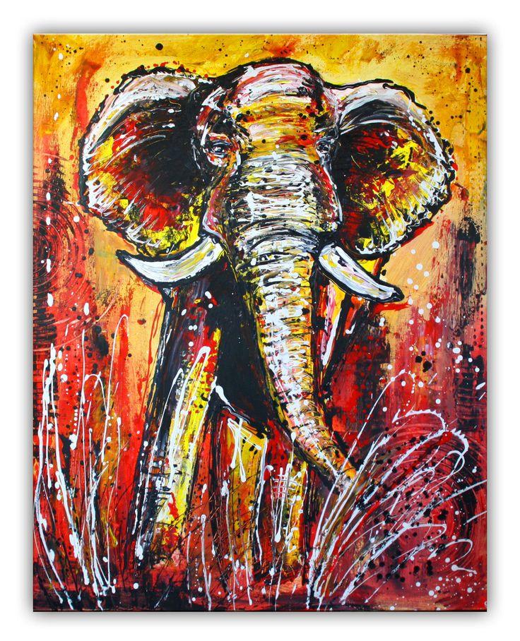 Elefant gelb rot abstrakt - Leinwandbild #tierbilder #tiergemälde #tiermalerei #tiere #elefantenbilder #elefantenmalerei #pferdegemalt #gemalteelefanten #handgemaltetiere #tierehandgemalt