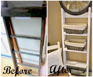 Upcycled Shelving From A Repurposed Ladder  - Step by step instructions!