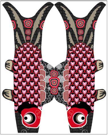 """Koinobori (鯉幟, Koi-nobori?), signifiant """"banderole de carpe"""" en Japonais, sont des manches à air en forme de carpe hissées au Japon pour célébrer Tango no Sekku (端午の節句), évènement traditionnel qui est désormais une fête nationale: Jour des Enfants. © solange abaziou 2011  dessins librement inspirés des koinobori édités par Madame Mo"""