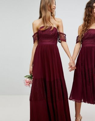 ASOS Bridesmaid Premium Guipure Lace Paneled Maxi Dress