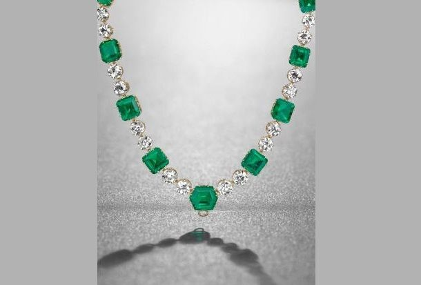 Rare Cartier Emerald Diamond Necklace likely to sell for $10 million at Geneva Switzerland auction for Bolivian Tycoon Simon Itturi Patino