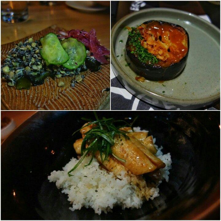 Tried almost everything on the menu at @ShokuninYYC. 1) Sprouted lentil salad, cucumber, gomaae, sancho oil, mizuna  2) Roasted and sake steamed eggplant, sweet miso and sake glazed with toasted black sesame and negi 3) Unagi style market fish - Roasted fish bone Kabayaki sauce, rice and salt cured egg #ComfortFood #JapaneseFood #Calgary #YYC #FMFinCalgary #FMFShokunin