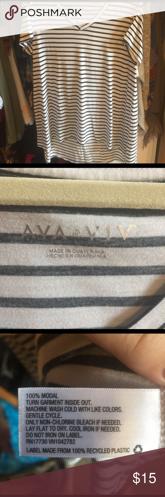 Black and white striped T-shirt 1X Ava and Viv 1X black and white striped T-shirt V-neck with a longer back extremely soft never worn without tag target AVA & VIV Tops Tees - Short Sleeve