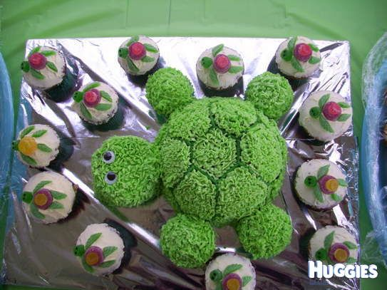 Turtle Cake with Turtle Cup Cakes