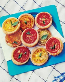 Tomato tarts- These were easy to make, fancy looking, and tasted great. I made them with my own biscuit recipe for the crust and used Mozzerella cheese and dried herbs.
