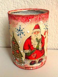 Cómo decorar una lata para navidad ~ cositasconmesh