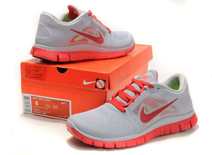 Wolf Grey Gym Red Nike Free Run 3 Men's Running Shoes #Grey #Womens #