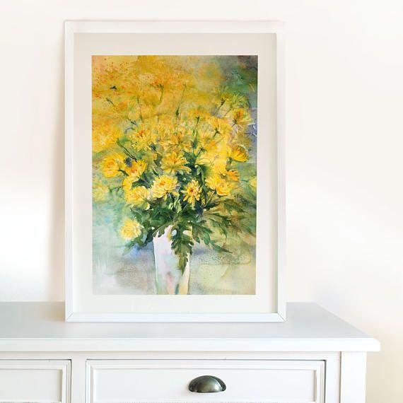 Yellow Сhrysanthemum Wall Art  Original Watercolour Painting