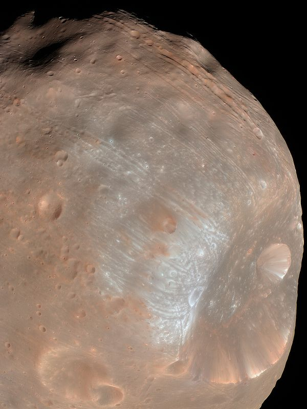 Phobos, moon of Mars.  #mars #phobos #moon #space