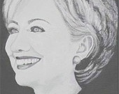 Hillary Clinton, Original Acrylic Portrait Painting. $100.00, via Etsy.