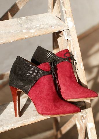 SEZANE HUNTER high heel ankle boots in red suede and python printed black  leather Size 38