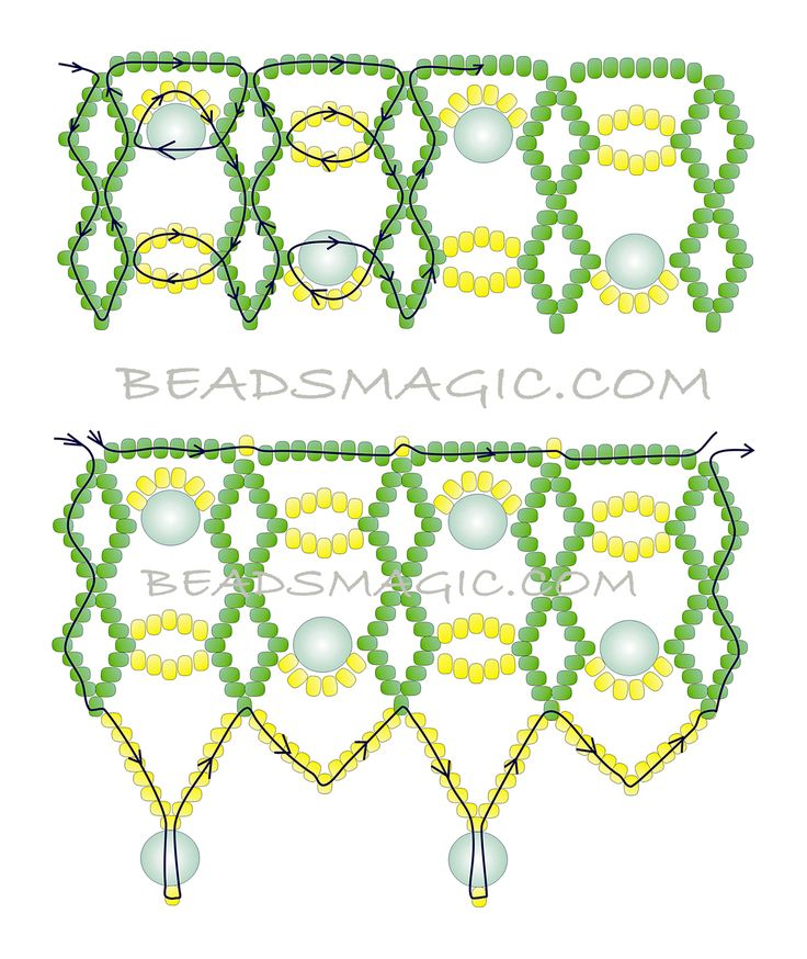 Free pattern for necklace Perla - 2---------U need Seed beads 11/0 (2 colors), Pearl beads 6-8 mm.