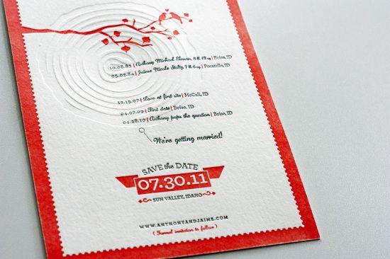 Modern Aspen Forest Letterpress, Modern Woodgrain Wedding Invitations