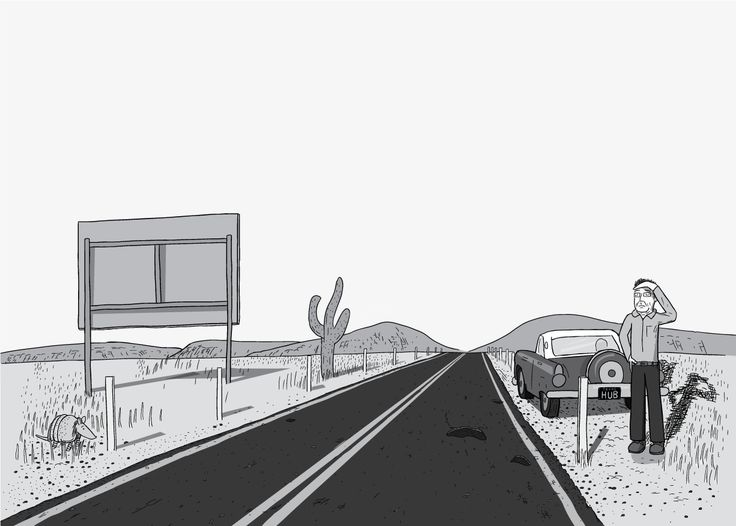 Man standing on the side of a desert highway, shielding his eyes from the sun with his hand. Drawing of roadside billboard, cactuses and armadillo in middle of desert scene. Broken down car: 1956 Ford Thunderbird. Image from Stuart McMillen's comic Peak Oil (2015), from the book Thermoeconomics (2016).