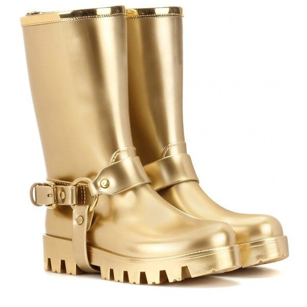 Dolce & Gabbana Rain Boots Rubber Boots ($660) ❤ liked on Polyvore featuring shoes, boots, gold, dolce&gabbana, dolce gabbana shoes, rubber boots, gold shoes and wellies shoes