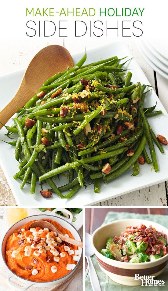 Easy holiday side dish recipes! Make our best vegetable (and bacon!) side dishes up to 24 hours in advance, then bake just before serving.